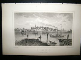 Holland Netherlands C1850's Antique Print. Ysselmonde, Steamer Boat